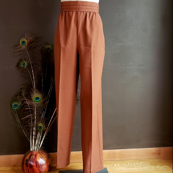 Plus Size Navy High Waisted Flared Trousers Pants Vintage Linen WORK 18 20 20